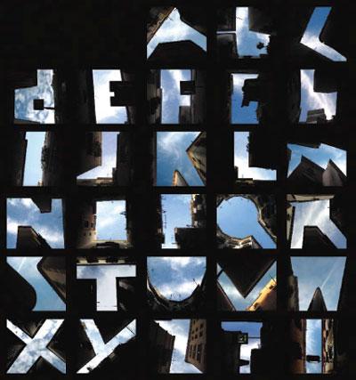 Construções urbanas que formam letras, em Novos fundamentos do design